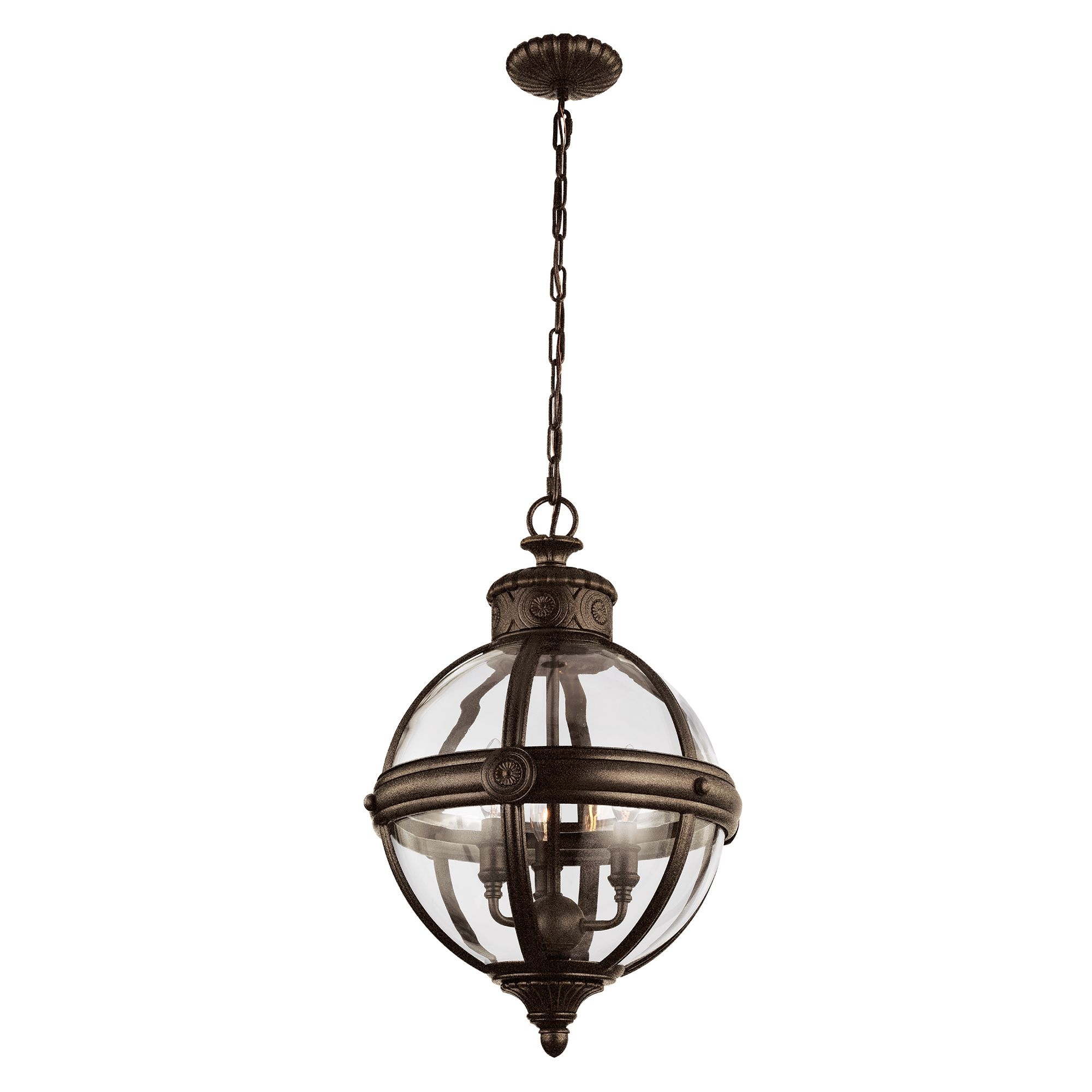 Adams 3 Light Pendant In A Bronze Finish With A Clear
