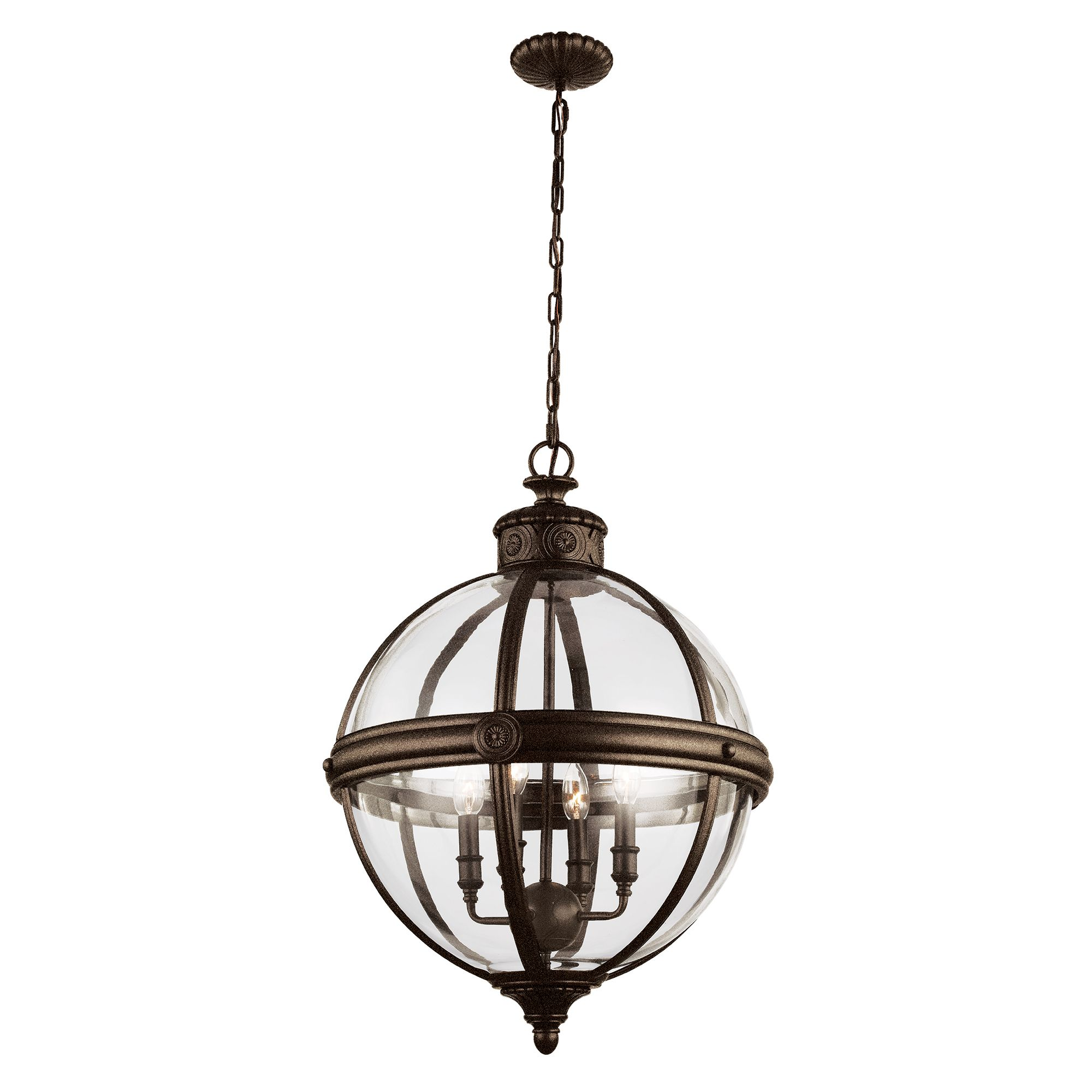 Adams 4 Light Pendant In A Bronze Finish With A Clear