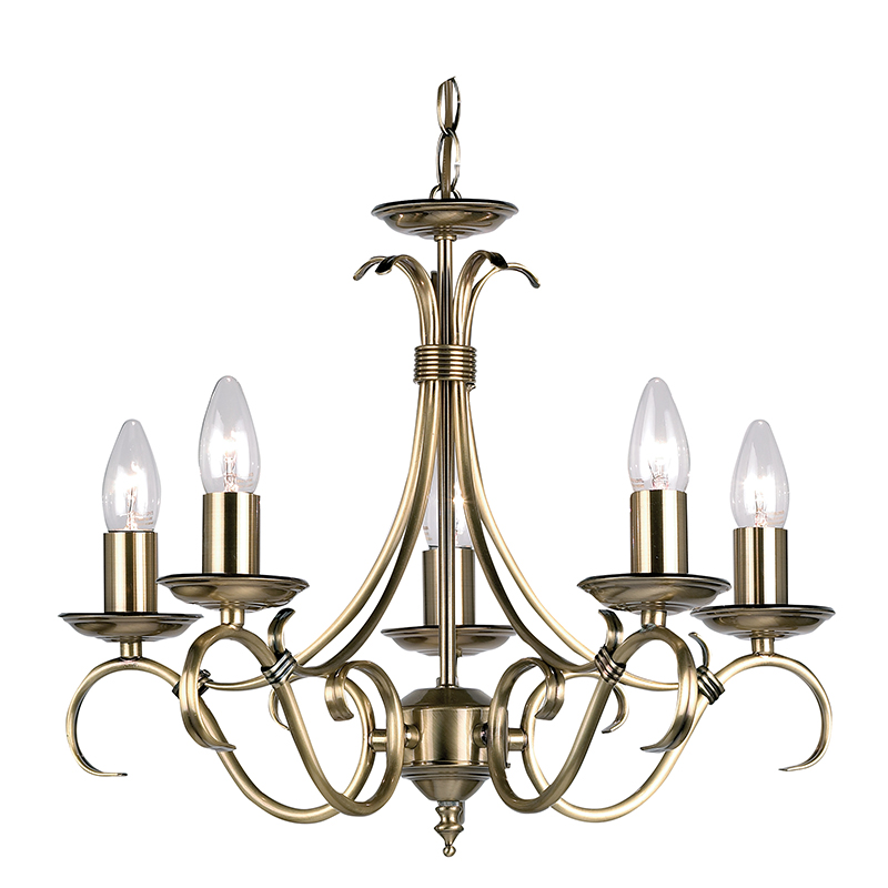 Bernice 5 Light Fitting In Antique Brass Endon 2030 5an