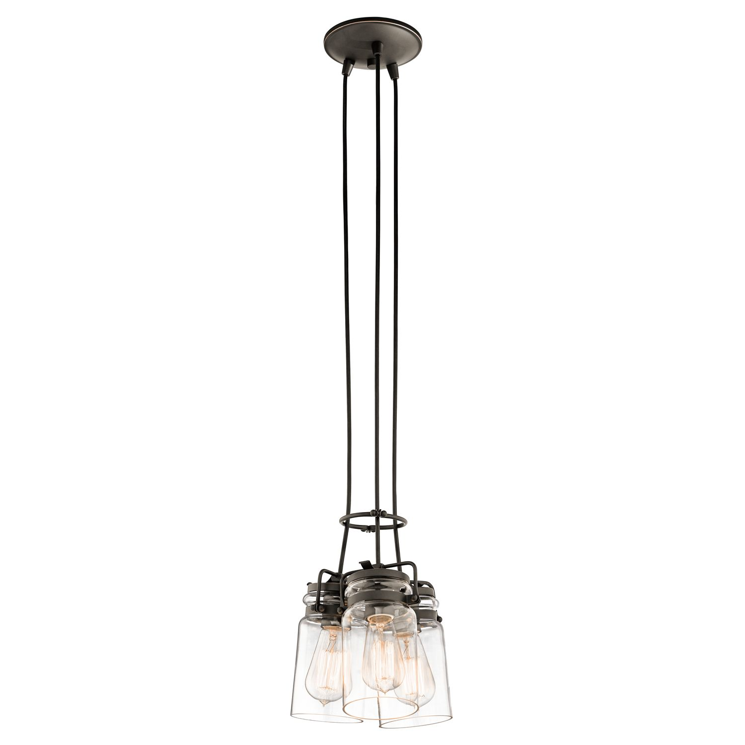 Brinley 3 Light Pendant In Olde Bronze With Glass Shades
