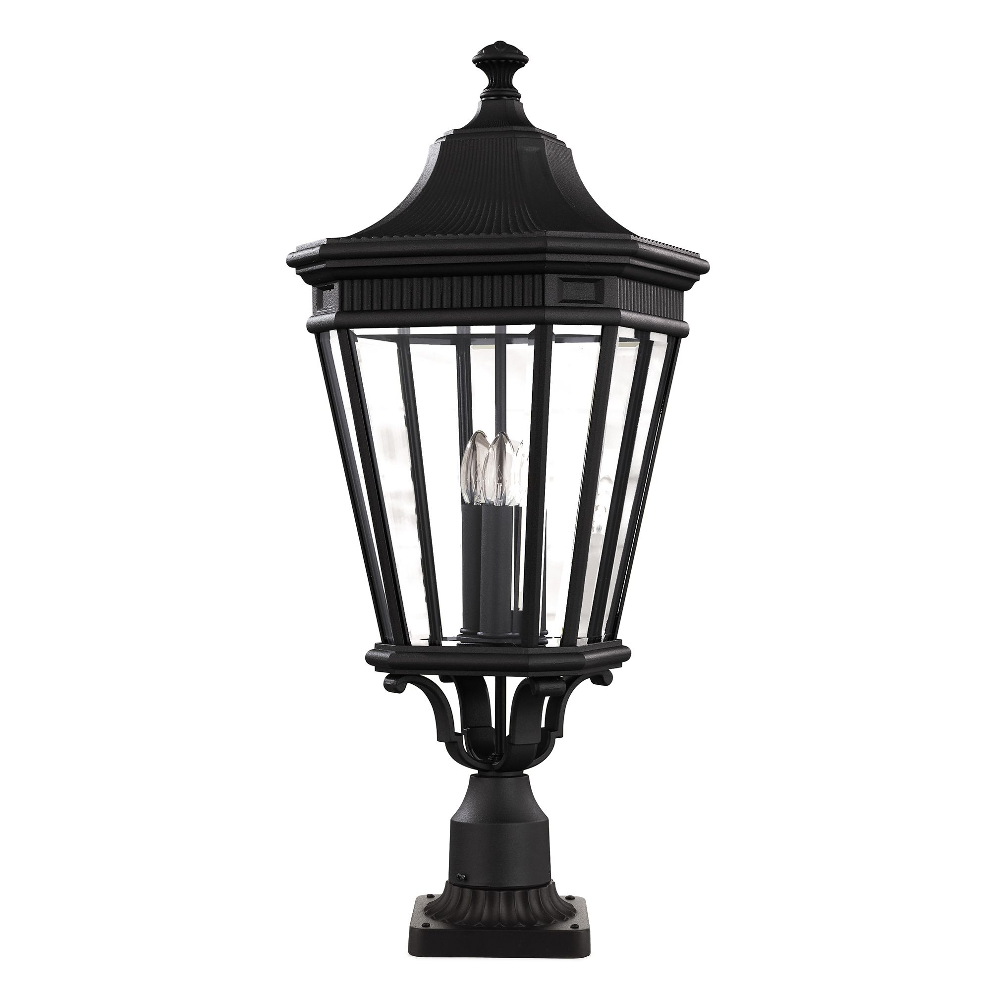 Baton Rouge Outdoor Pedestal Lantern By Feiss: Cotswold Lane Large Outdoor Pedestal In A Black Finish