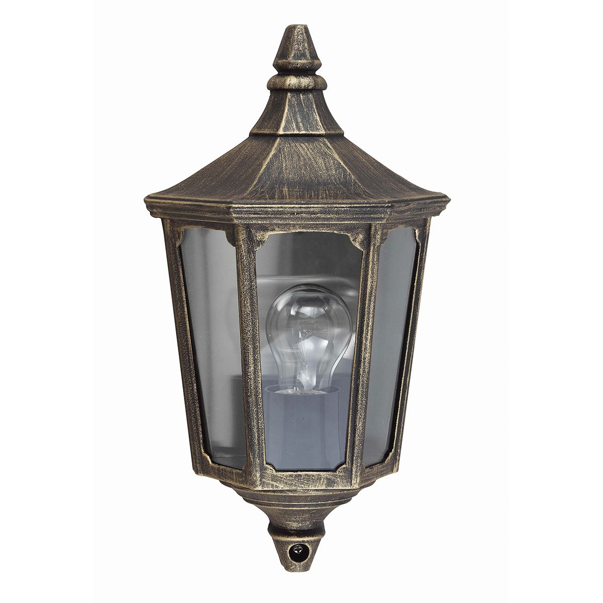 Cricklade Outdoor Half Lantern In A Black Gold Finish Ip44