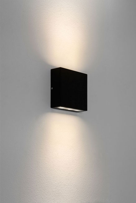 elis twin led ip54 outdoor square wall up and down light in black astro 7202. Black Bedroom Furniture Sets. Home Design Ideas