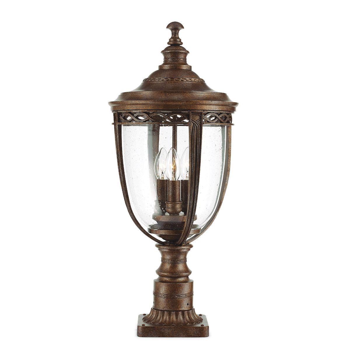Baton Rouge Outdoor Pedestal Lantern By Feiss: English Bridle Large Outdoor Pedestal In A Bronze Finish