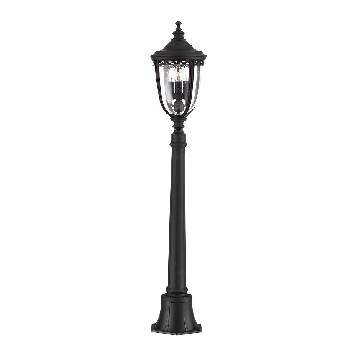 Feiss English Bridle Medium Pedestal Lantern Light Black: English Bridle Medium Outdoor Bollard In A Black Finish