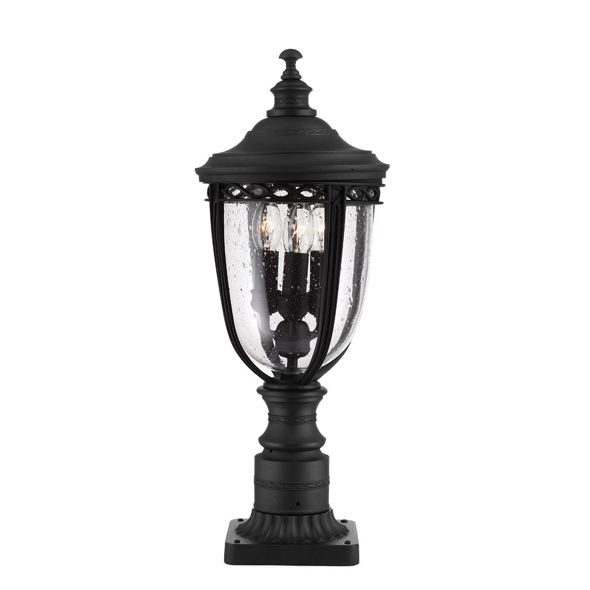 Feiss English Bridle Medium Pedestal Lantern Light Black