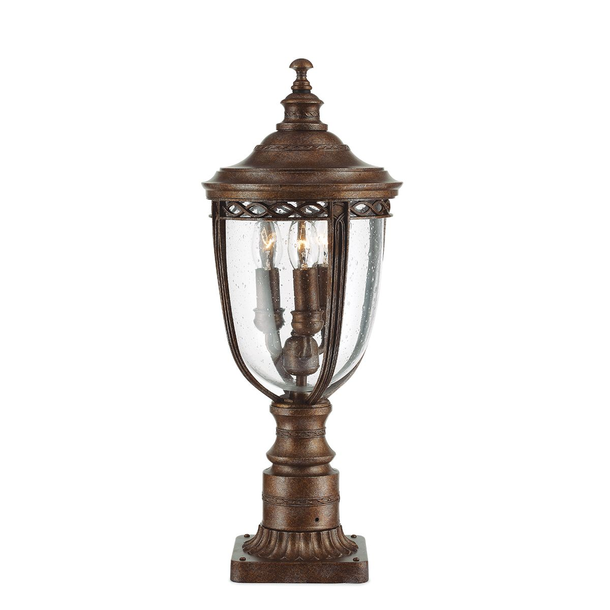 Baton Rouge Outdoor Pedestal Lantern By Feiss: English Bridle Medium Outdoor Pedestal In A Bronze Finish