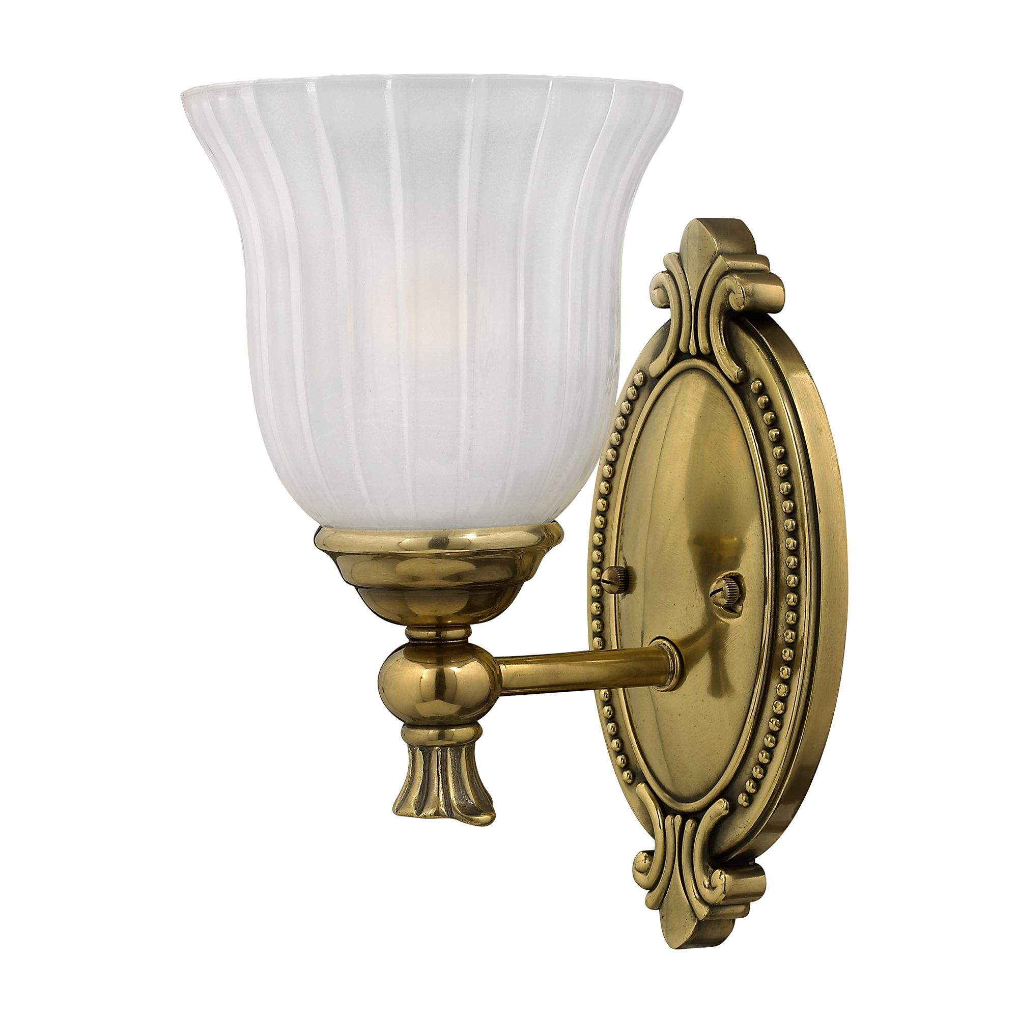 francois solid brass single bathroom wall light in a burnished brass