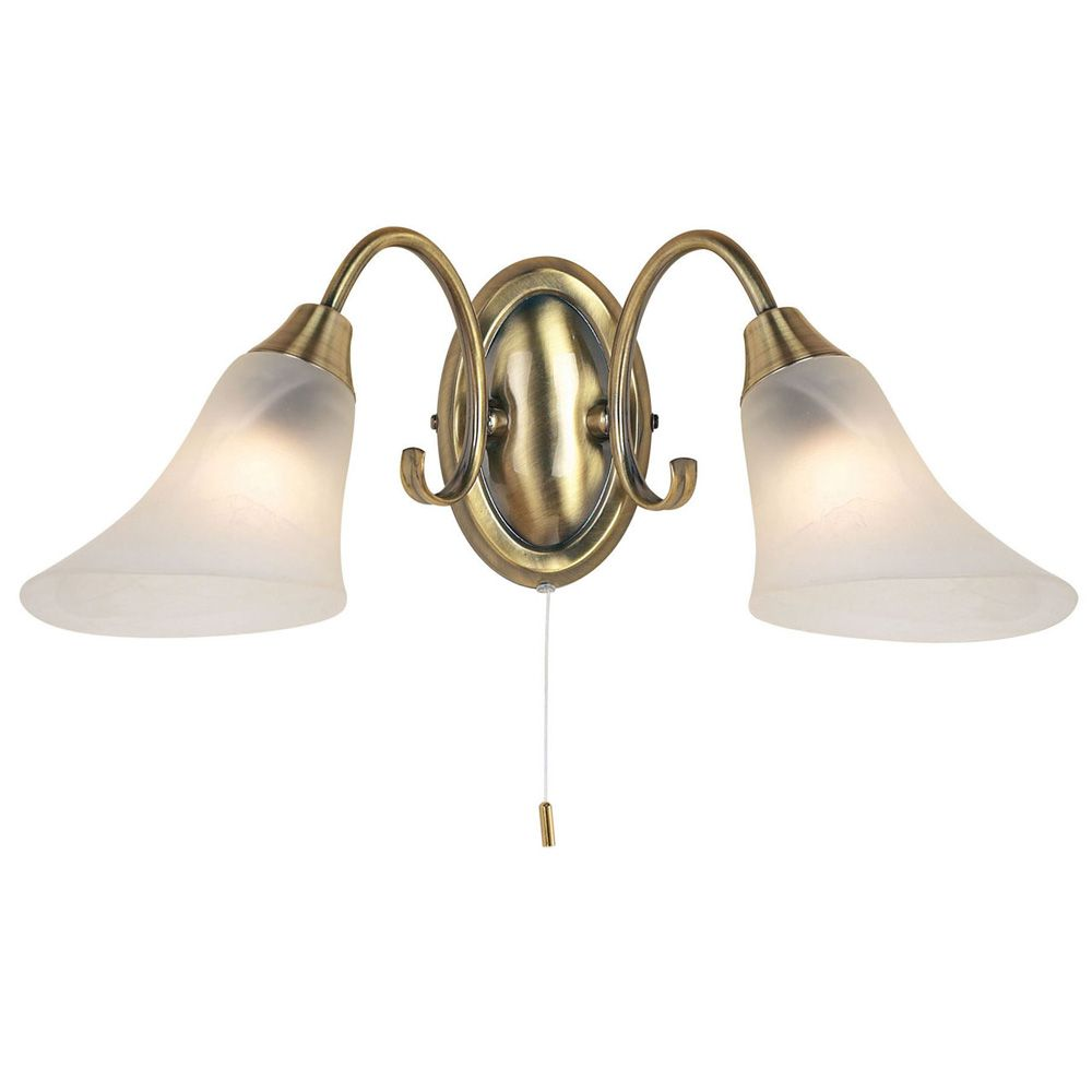 Hardwick Wall Light in Antique Brass with Frosted Glass Shades Switched - ENDON 144-2AN