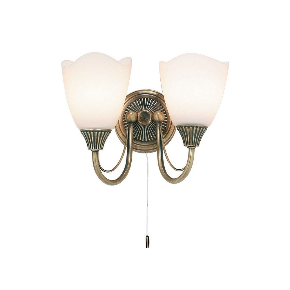 Haughton Double Wall Light in Antique Brass with Opal Glass Shades Switched - ENDON 601-2AN
