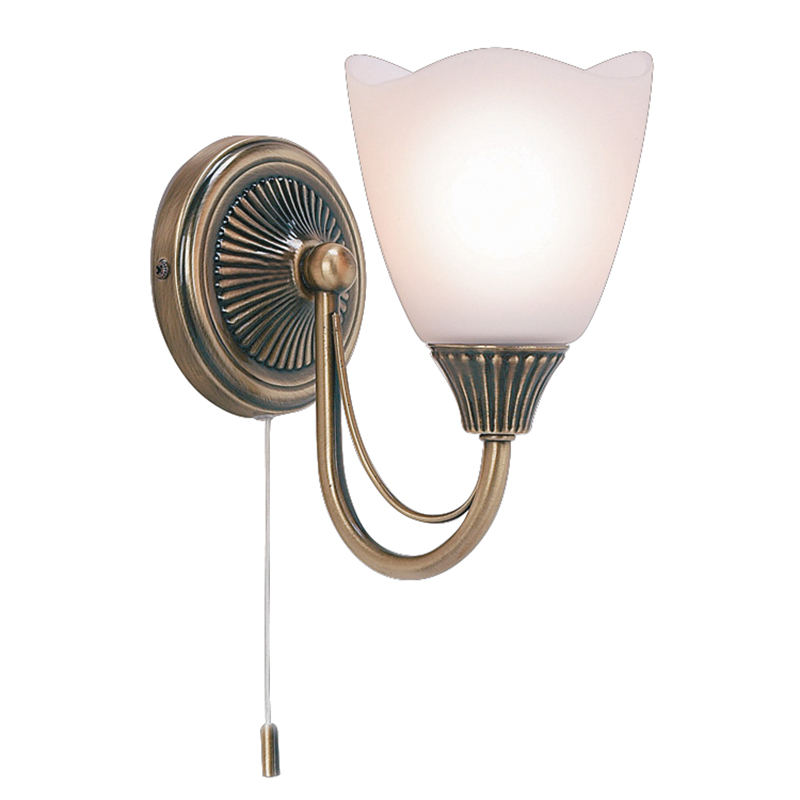 Haughton Single Wall Light in Antique Brass with an Opal Glass Shades Switched - ENDON 601-1AN