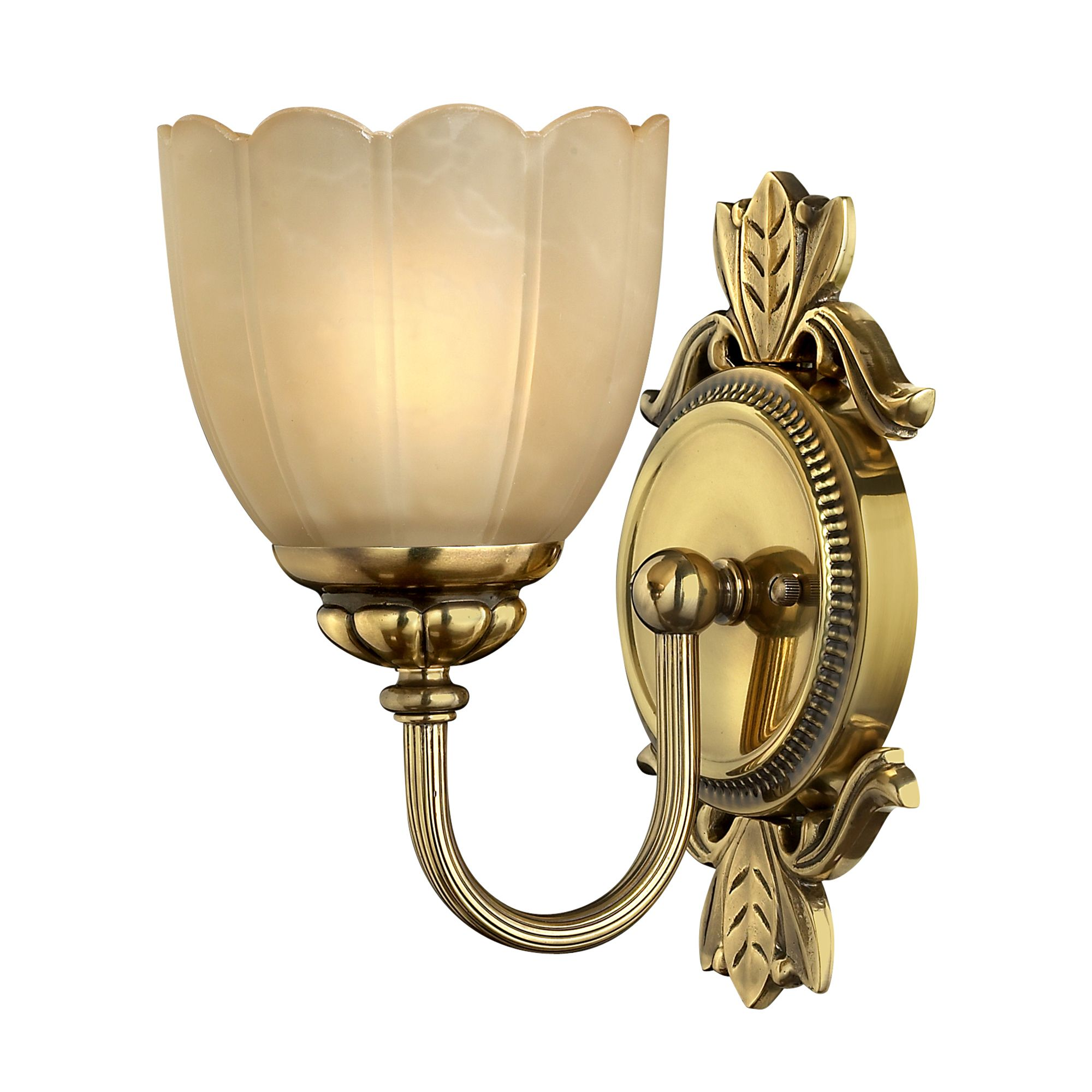 Isabella solid brass single bathroom wall light in a for Bathroom light fixtures brass finish