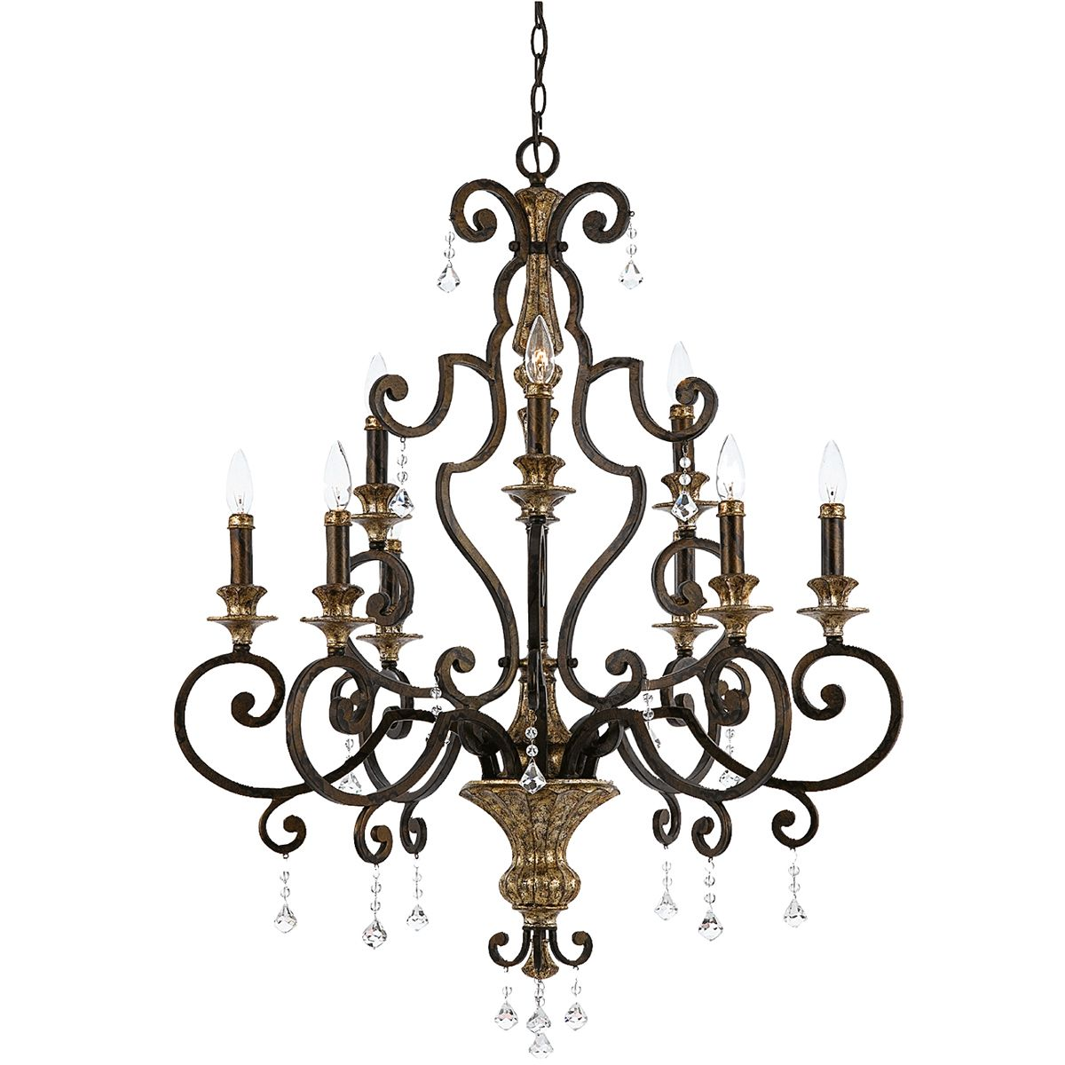 Marquette 9 Light Chandelier In Rich Bronze And Gold With