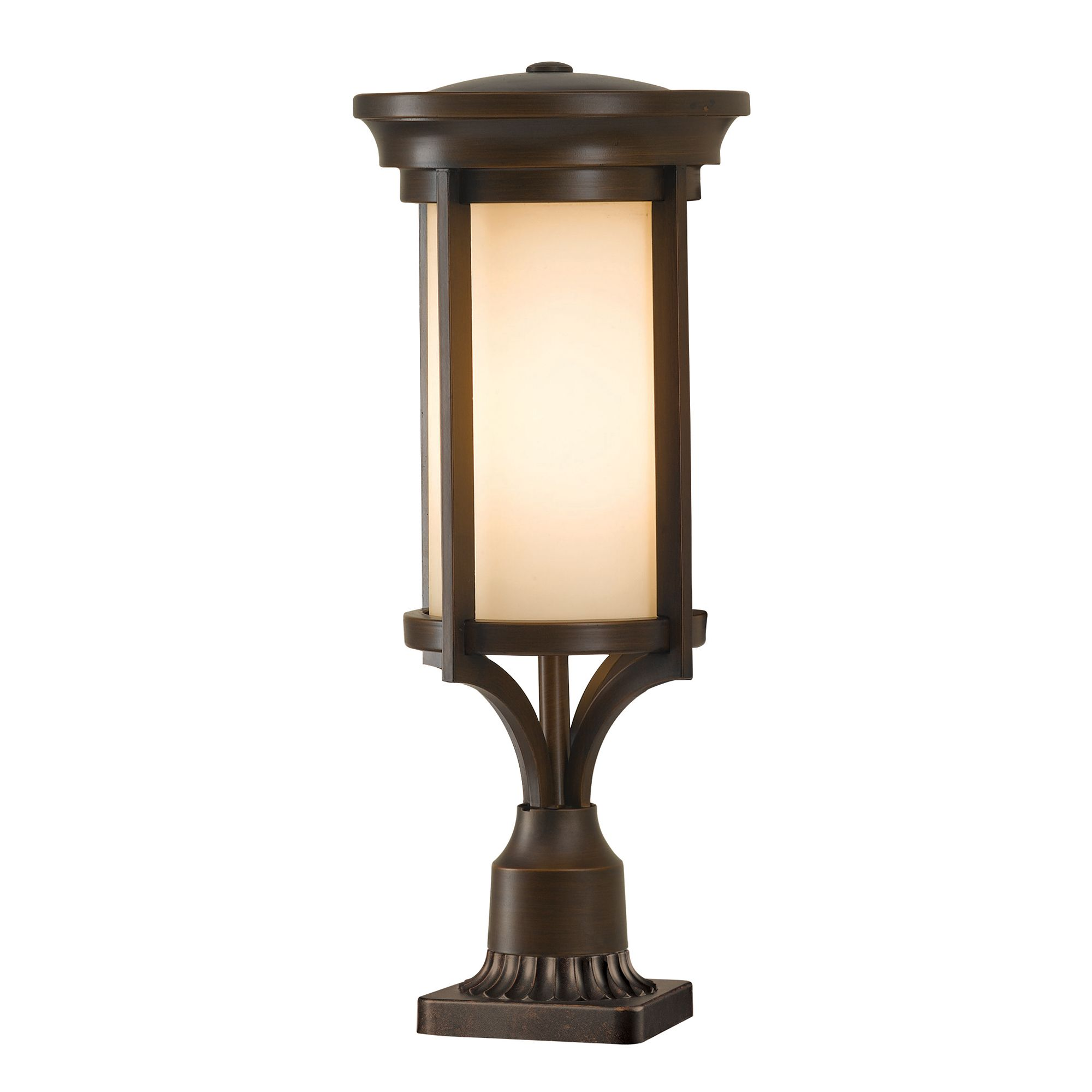 Merrill Outdoor Pedestal In Heritage Bronze With Cream