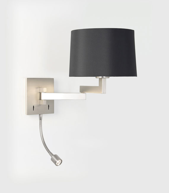 Momo matt nickel swing arm wall light with either white black or momo matt nickel swing arm wall light with either white black or oyster shade with a switched led reading arm astro 0869 6 shade options mozeypictures Image collections