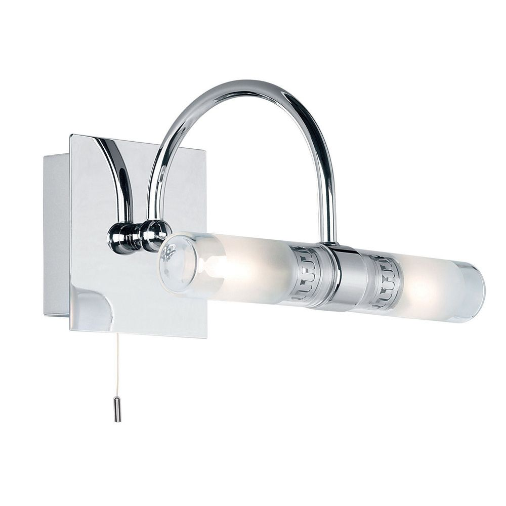 Nikki IP44 Bathroom Curved Double Wall Light Mirror Light in Polished Chrome with Pull Switch ...