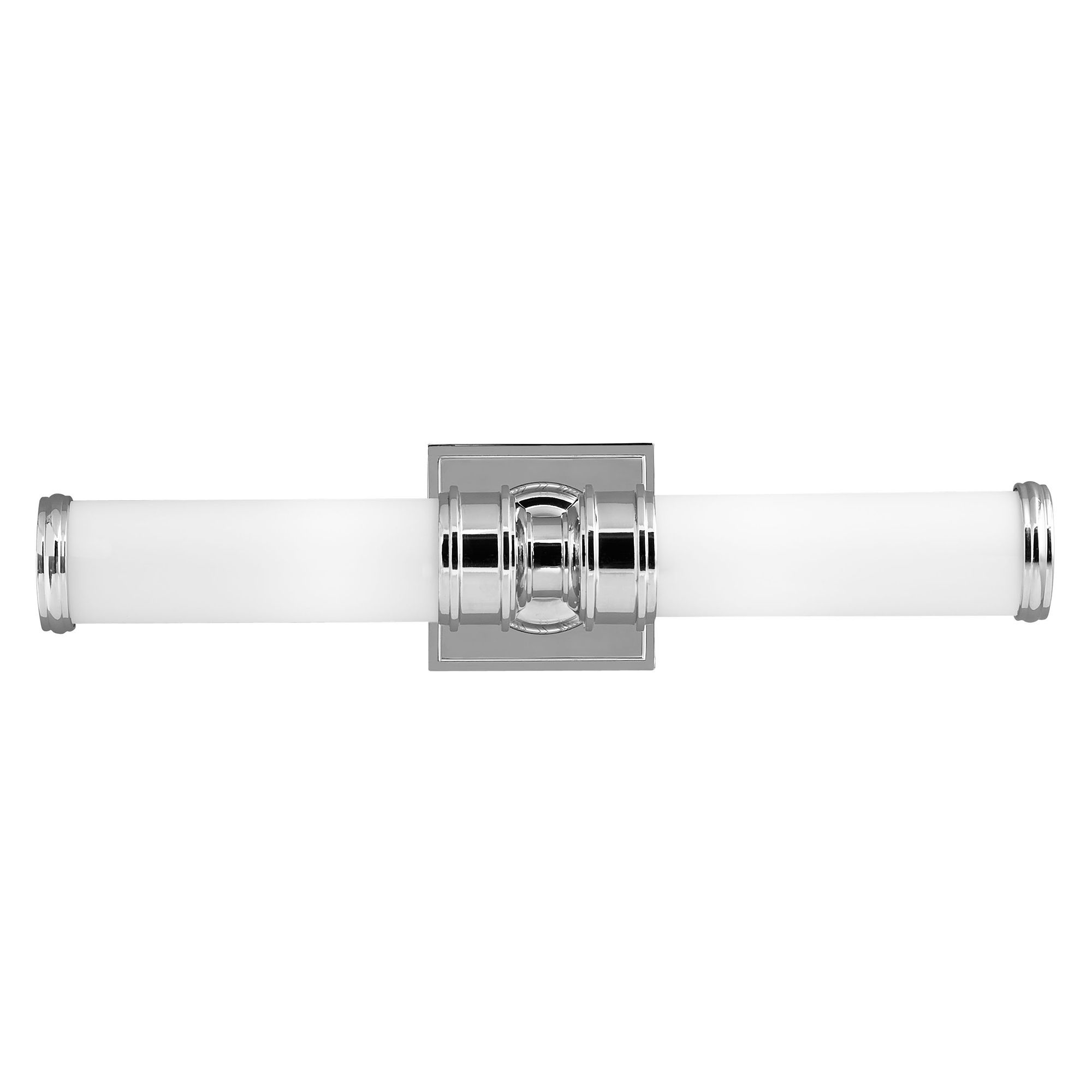 Payne double bathroom mirror wall light in polished chrome with opal etched glass shades ip44 Polished chrome bathroom mirrors