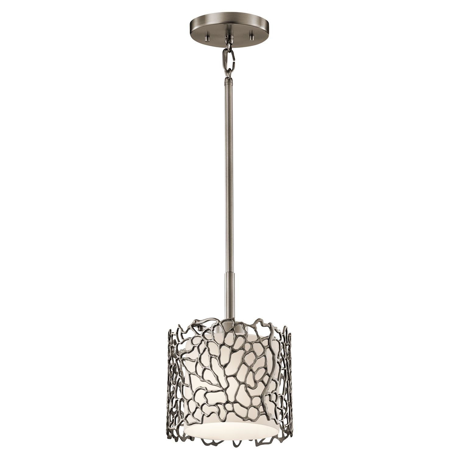 Silver Coral Mini Pendant In A Classic Pewter Finish And