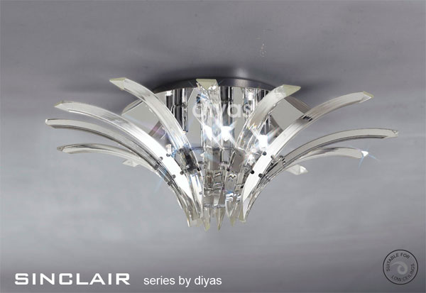 Sinclair 4 Light Flush Fitting in Polished Chrome and Crystal - DIYAS  IL50441