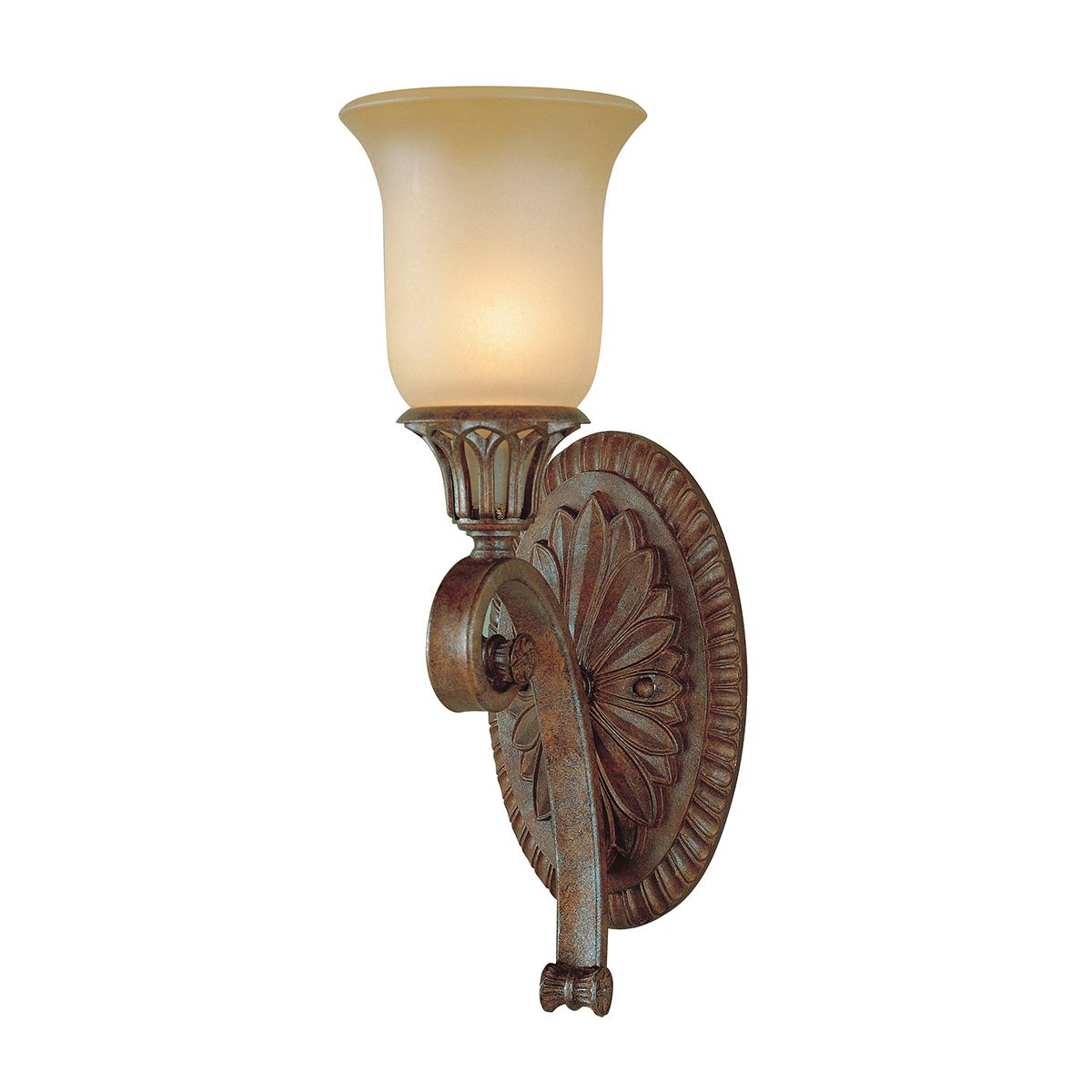 stirling castle single wall light in a bronze finish with a co