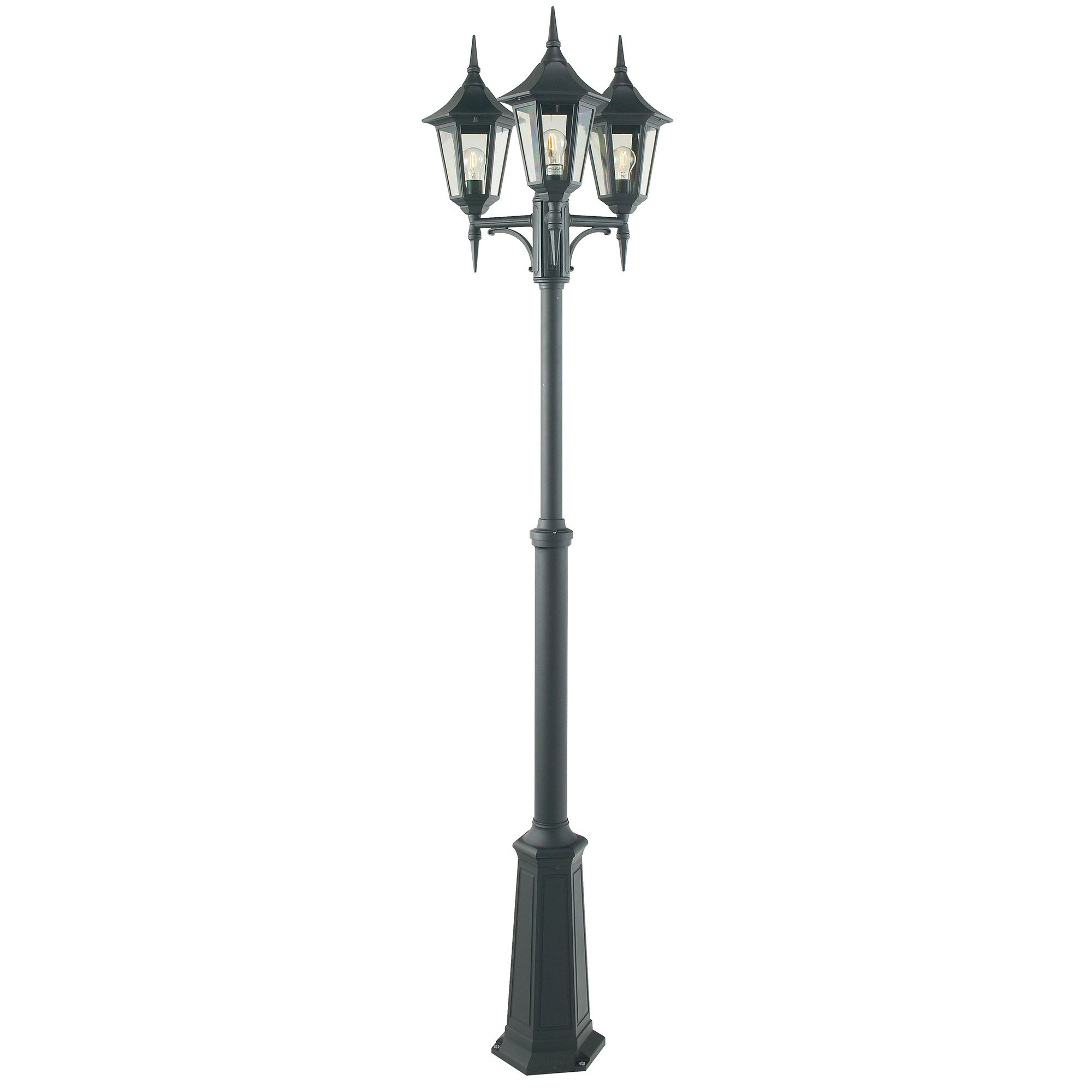 Valencia Triple Lamppost Finished In Black With A