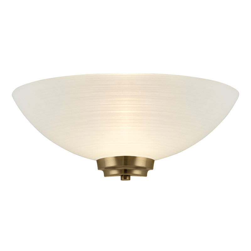 Welles Wall Light in Antique Brass with Etched Glass - ENDON WELLES-1WBAB