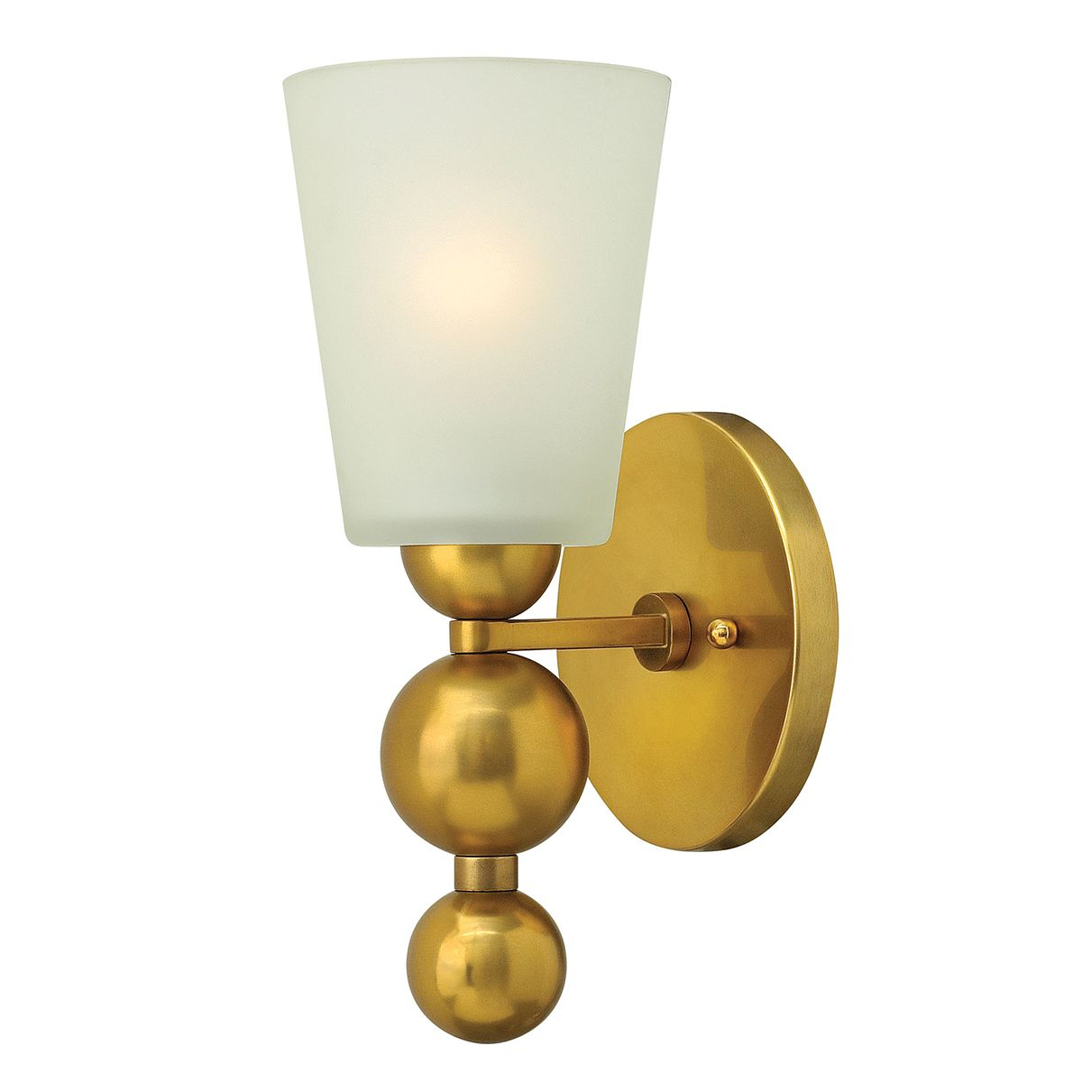 Etched Glass Wall Lights : Zelda Single Wall Light in Vintage Brass with an Etched Glass Shade - HINKLEY HK ZELDA1 VS