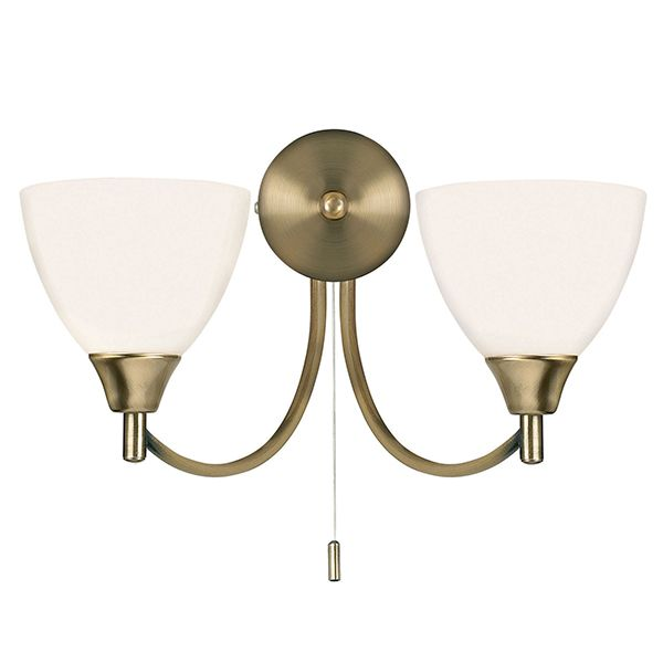 Alton Double Wall Light In Antique Brass With Opal Glass