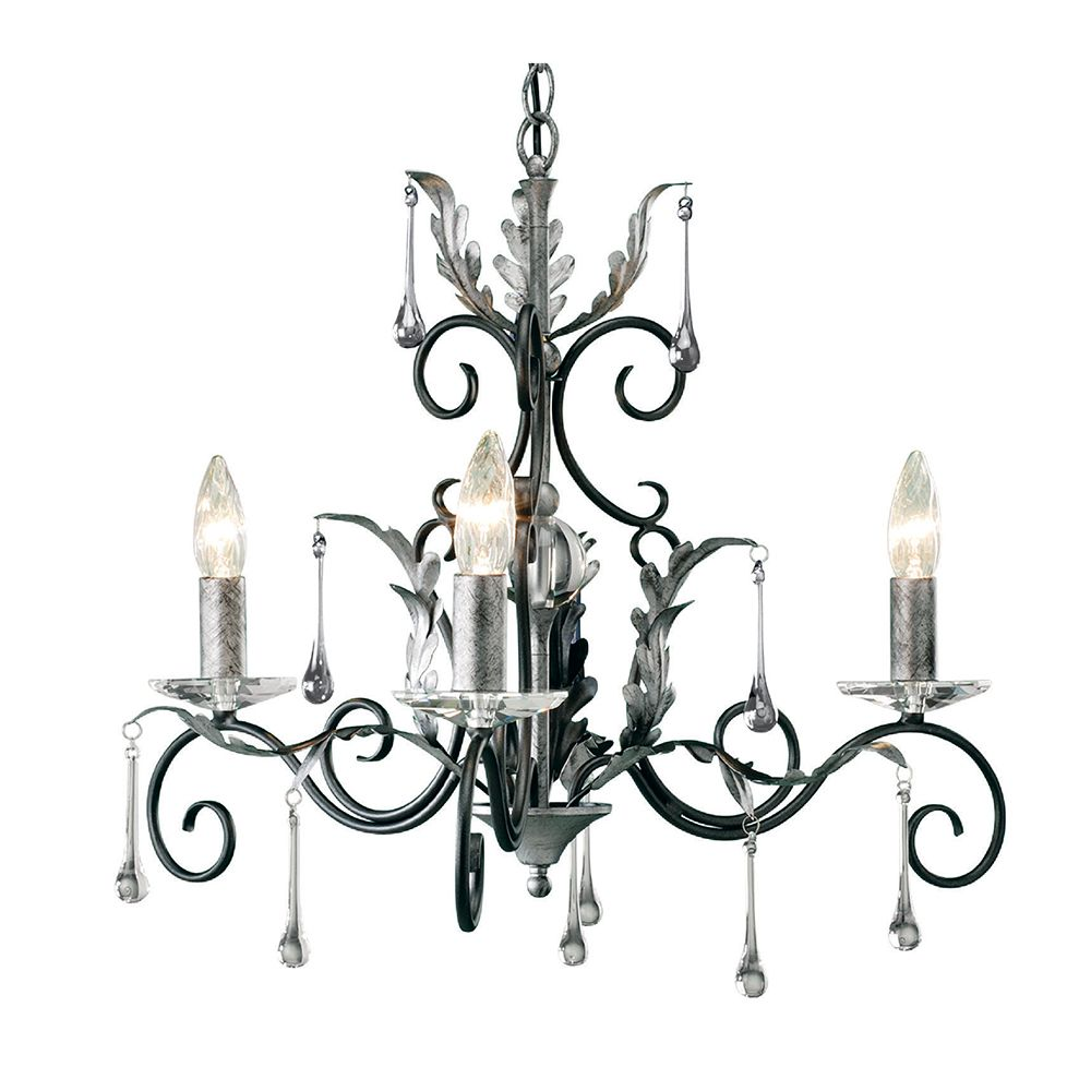 Amarilli 3 light chandelier in black silver with glass droplets amarilli 3 light chandelier in black silver with glass droplets elstead aml3 bs aloadofball Images