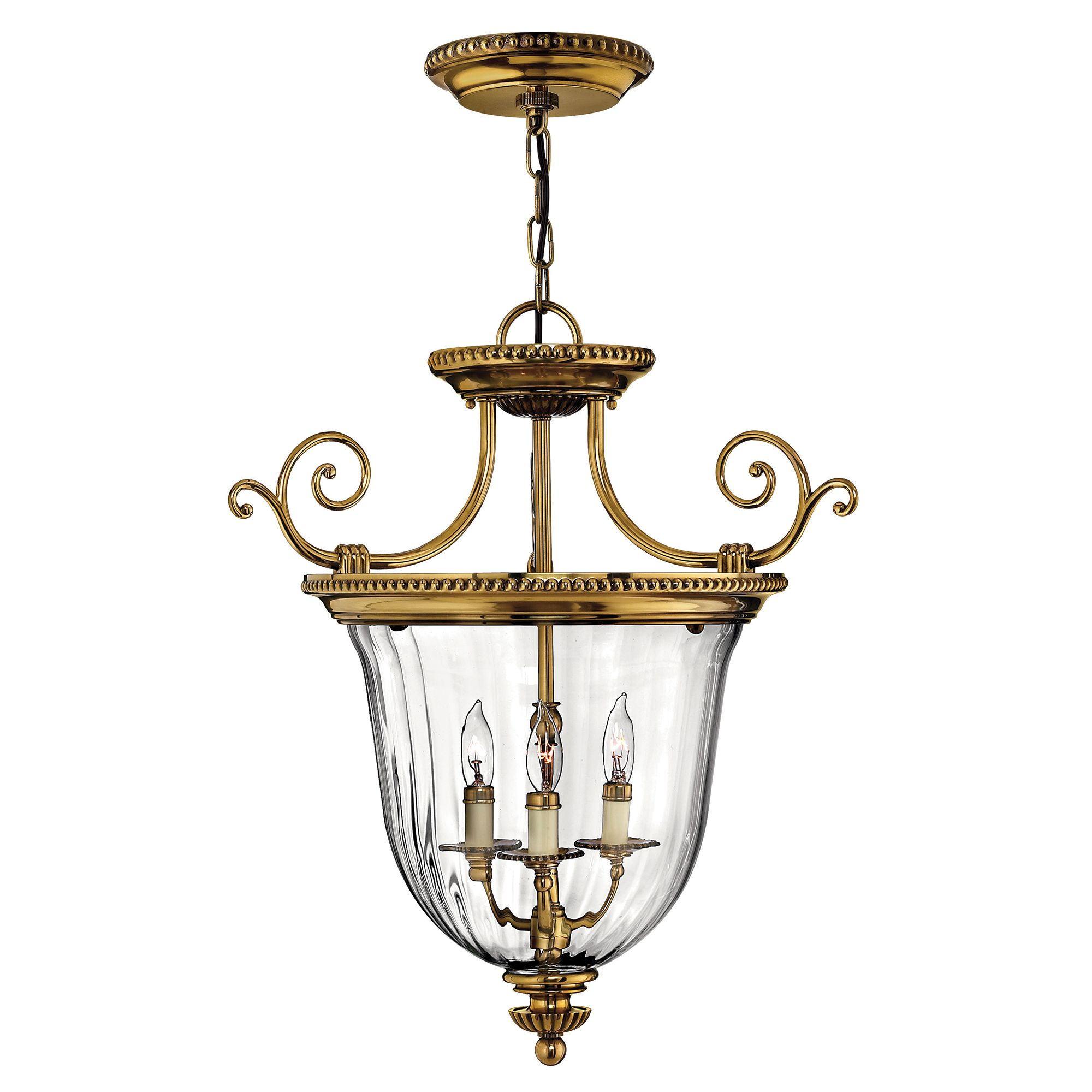 Cambridge 3 Light Pendant In Solid Burnished Brass With