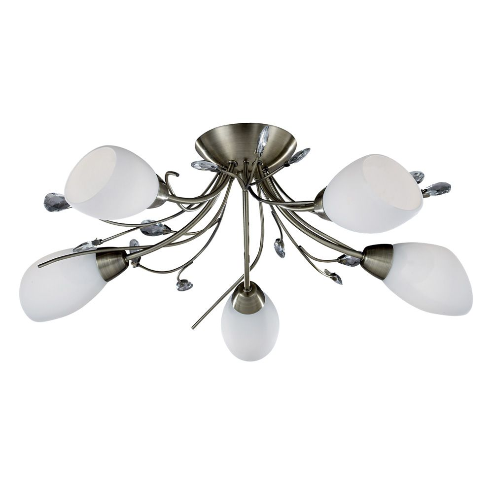 Gardenia 5 Light In Antique Brass With Cone Shaped Opal