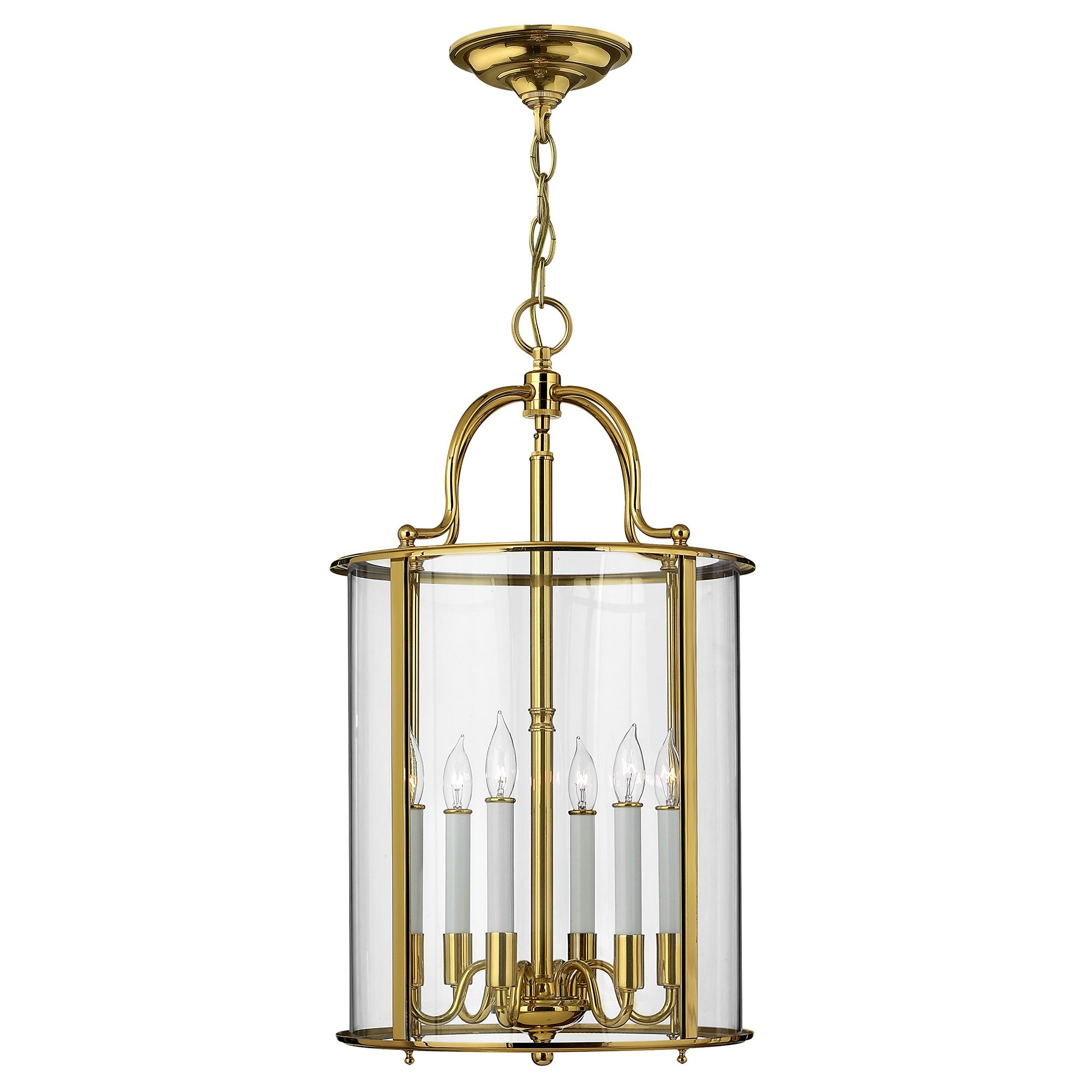 Gentry 6 Light Large Lantern Pendant In A Polished Solid Brass Finish And White Candle Sleeves Hinkley Hk P L Pb