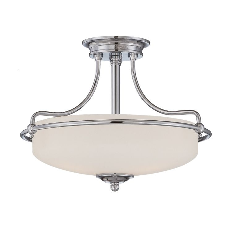 50651cfb8f0a Griffin 3 Light Semi-Flush Fitting in Polished Chrome with an Etched Glass  Shade - QUOIZEL QZ GRIFFIN SFS C