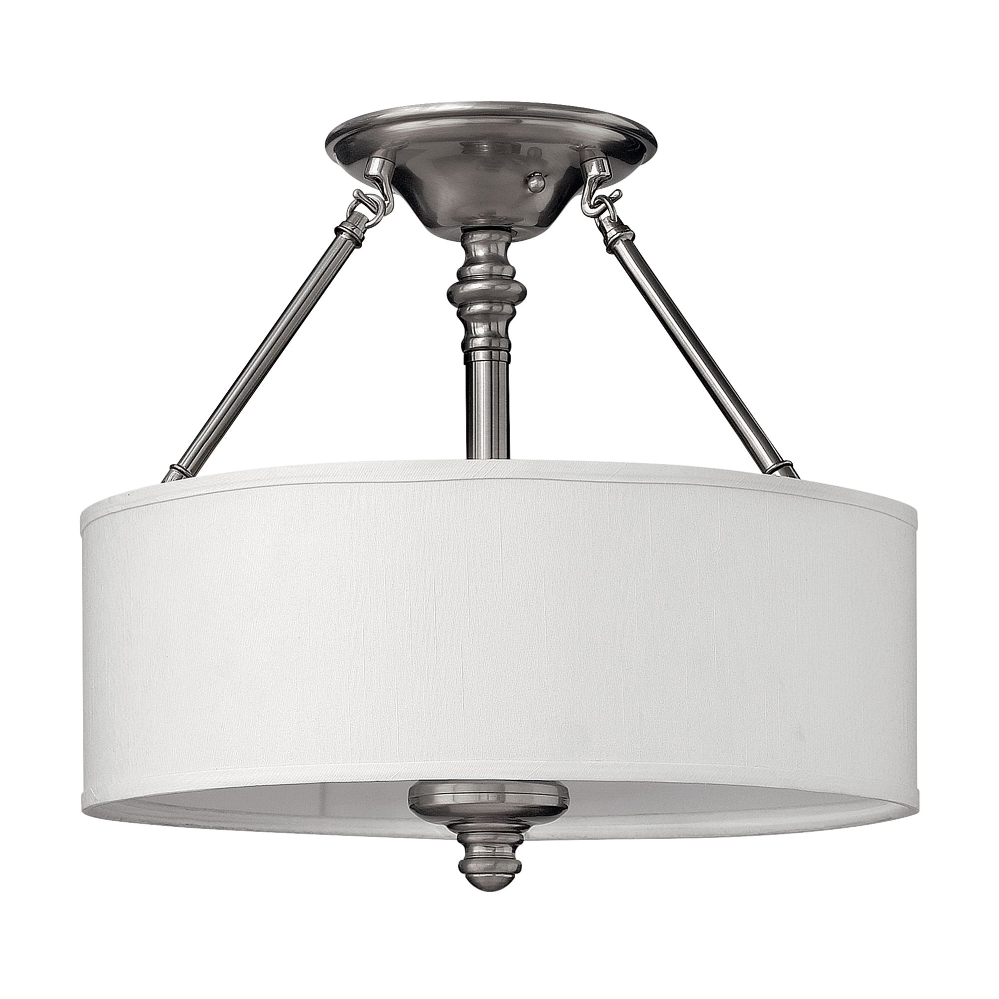 Sus 3 Light Semi Flush In Brushed Nickel Complete With A White Fabric Shade Hinkley Hk Sf